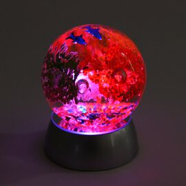 Home Decor - Flower and Fish Pattern Crystal Ball with Colour Changing LED (Red, Yellow and Blue) Si