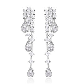 J Francis Made with SWAROVSKI ZIRCONIA Waterfall Earrings in Rhodium Plated Sterling Silver