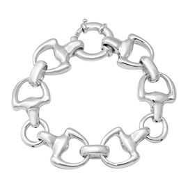 Rhodium Overlay Sterling Silver Snaffle Link Bracelet (Size 7.75), Silver wt 21.76 Gms.