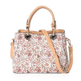 Cream and Multi Colour Floral Pattern Tote Bag with Removable Shoulder Strap (Size 28x19x12 Cm)