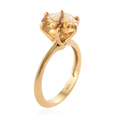 Citrine (Rnd) Solitaire Ring in 14K Yellow Gold Overlay Sterling Silver   3.250  Ct.