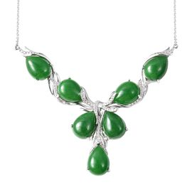 70.45 Ct Green Jade and Zircon Y Necklace in Rhodium Plated Silver 19 Grams 18 Inch