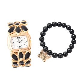 2 Piece Set - STRADA Japanese Movement Water Resistant Adjustable Watch with Floral Petal Design Str