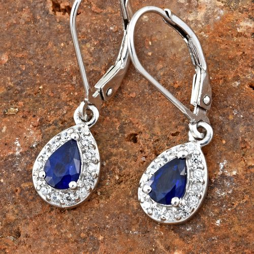 Very Rare Blue Spinel (Pear), Natural Cambodian Zircon Lever Back Earrings in Platinum Overlay Sterling Silver 1.150 Ct.