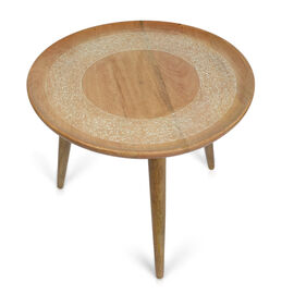 NAKKASHI - Mango Tree Wood Olivia Hand Carved Round Table (Size 60x51 Cm)