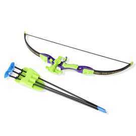 Archery Set with Bow (Size 69x24 Cm) and Three Sucker Arrows with Frame (Size 54x10 Cm) - Multi Colo