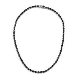 Elite Shungite (Ovl) Necklace (Size 18) in Platinum Overlay Sterling Silver 20.00 Ct, Silver wt 21.5