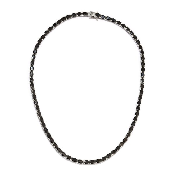 20 Carat Elite Shungite Tennis Necklace in Platinum Plated Sterling Silver 23.22 Grams 18 Inch