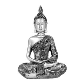 Meditating Buddha Statue (Size 13x8.5x20 Cm) - Silver and Black