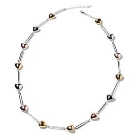 Heart Station Necklace (Size 40 with 2.5 inch Extender) in Silver, Rose and Yellow Gold Tone