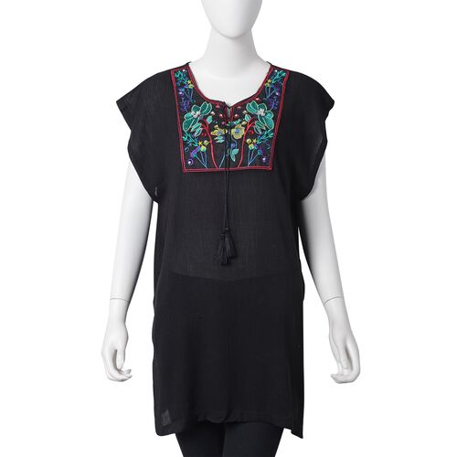 New Season-Black, Red, Blue and Multi Colour Ethnic Style Embroidered Lotus Pattern Summer Poncho (S