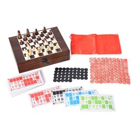 Travel Games Set in Folding Checkerboard Box (includes 32 Chess Pieces, 90 Number Tiles and Tickets)