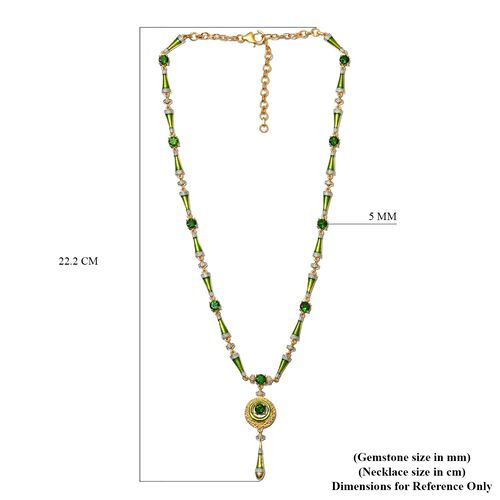 Russian Diopside Necklace (Size 18 with 2 inch Extender) in 14K Gold Overlay Sterling Silver 5.00 Ct, Silver wt. 18.50 Gms