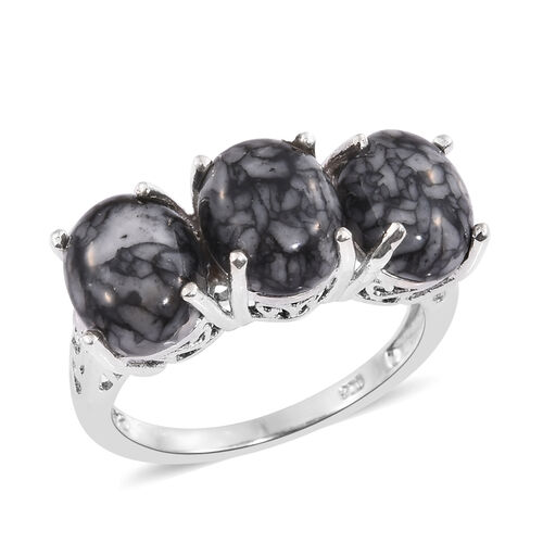 Austrian Pinolith (Ovl) Trilogy Ring in Platinum Overlay Sterling Silver 9.000 Ct.