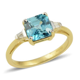 AAA Ratanakiri Blue Zircon and Zircon Asscher Cut Solitaire Ring in 9K Gold