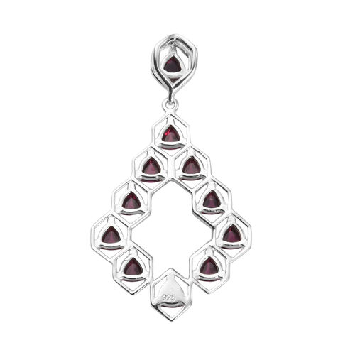 Rhodolite Garnet Pendant in Platinum Overlay Sterling Silver 4.00 Ct.