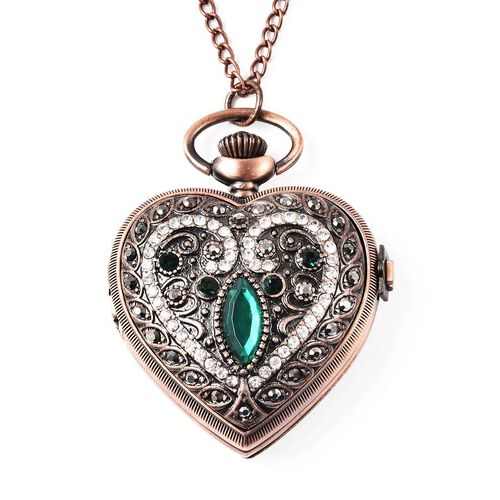 STRADA Japanese Movement Water Resistant Multi Colour Austrian Crystal and Simulated Emerald Heart P