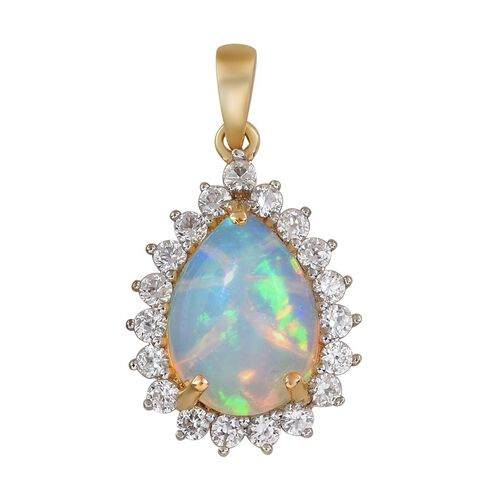 4.50 Ct Ethiopian Welo Opal Pear and Zircon Teardrop Halo Pendant in 9K Gold