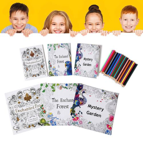 Set of 7 - Six Colouring Books with a Box of 24pcs Crayons (Mystery Garden, Enchanted Forest and The Enchated Forest)