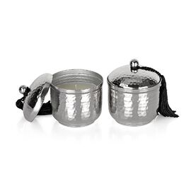 SILVER Set of 2 - Hammered Metal Candle Jar with Lid and Wax Inside (Size 6.8x6.8x8 Cm) - (Jasmine F