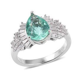 ILIANA 18K White Gold AAA Boyaca Colombian Emerald (10.3x7.9 mm), Diamond (SI/G-H) Ring 2.820 Ct, Gold wt 5.49 Gms.
