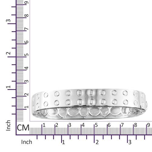 Designer Inspired -Platinum Plated Bangle (Size 7.75) with Screw Texture Pattern