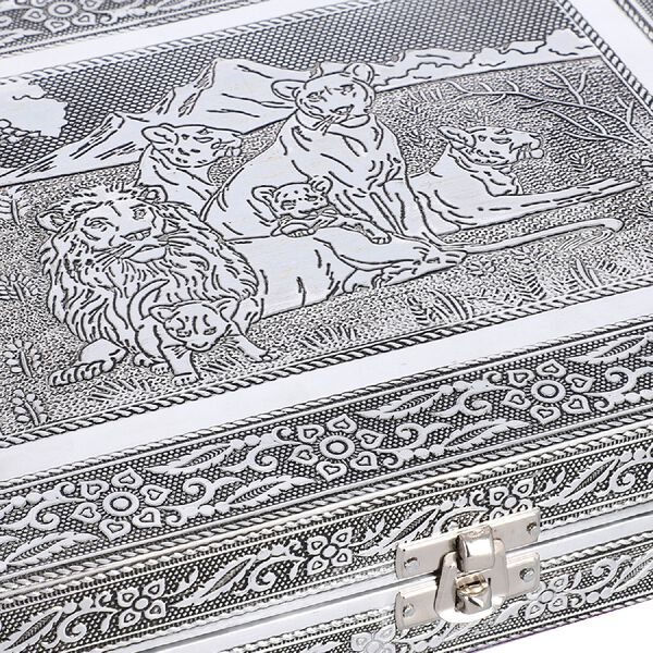 Close Out Deal- Teak Wood Lion Family Hand Crafted Aluminium Embossed Ring Box (20X28X5CM)