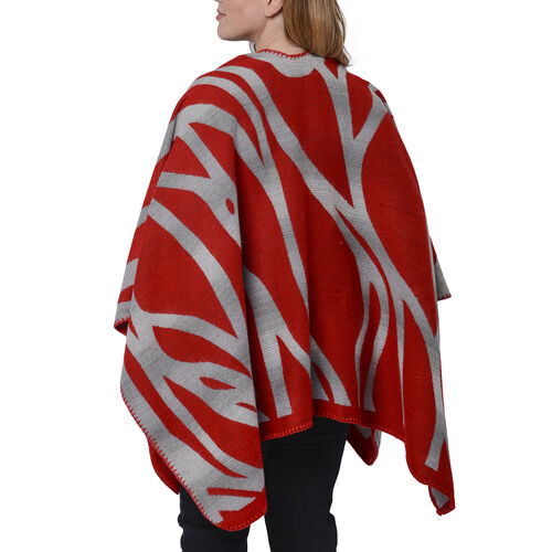 Red and Grey Colour Raised Grain Pattern Blanket Kimono (Size 133x70 Cm)