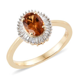 9K Yellow Gold AAA Madeira Citrine (Ovl), Diamond Ring