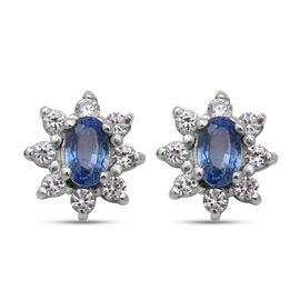 Ceylon Sapphire and Natural Cambodian Zircon Star Stud Earrings (with Push Back) in Rhodium Overlay