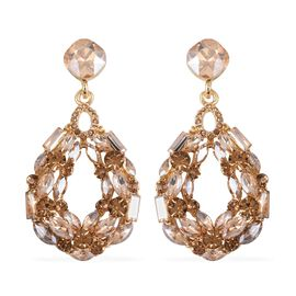 Designer Inspired Simulated Champagne Diamond and Austrian Crystal Earrings in Gold Plated