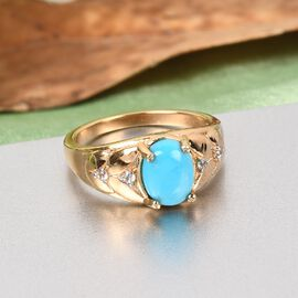 GP Itallian garden Leaf & Flower Collection - Arizona Sleeping Beauty Turquoise, Natural Cambodian Zircon and Kanchanaburi Blue Sapphire Ring in 14K Gold Overlay Sterling Silver 1.110 Ct.