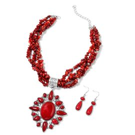 Coral and Red Howlite Necklace (Size 16 with 6 inch Extender) and Hook Earrings in Silver Tone 580.00 Ct