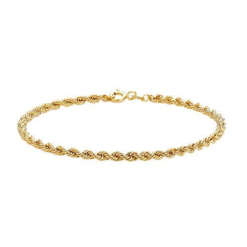 9K Yellow Gold Hollow Rope Bracelet (Size 7.25)