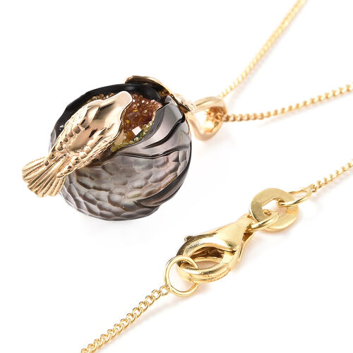 Galatea Pearl - Mothers Love- Tahiti Pearl, Freshwater Pearl and Multi Gemstone Mothers Love Inspired Pendant with Chain (Size 18) in Yellow Gold Overlay Sterling Silver
