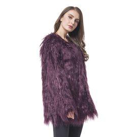 Close Out Designer Inspired Dark Plum Colour Faux Fur Jacket (Size 75X53 Cm)