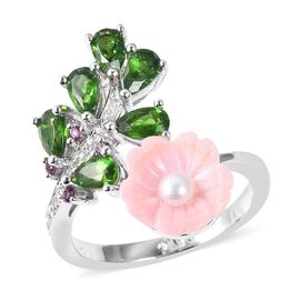 Jardin Collection - Pink Mother of Pearl, Freshwater Pearl, Russian Diopside, Rhodolite Garnet and N