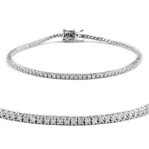 14K White Gold Diamond (Rnd) (I2 / G-H) Bracelet (Size 7) 1.000 Ct, Number of Diamonds 102