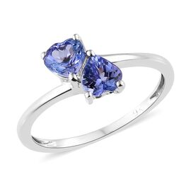 9K White Gold AA Tanzanite Twin Heart Ring 0.75 Ct
