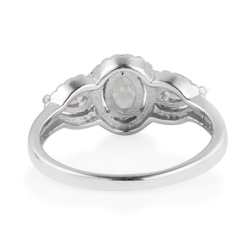 ELANZA Simulated Green Amethyst (Ovl), Simulated Diamond Ring in Rhodium Overlay Sterling Silver 2.000 Ct.