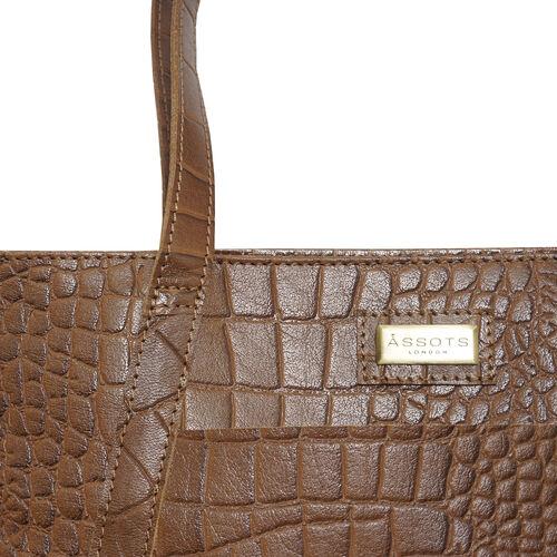 Assots London AGNES Croc Embossed Genuine Leather Tote Bag with Zipper Closure (Size 33x11x26 Cm) - Tan