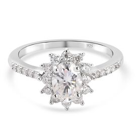 Moissanite Ring in Platinum Overlay Sterling Silver 1.300  Ct.