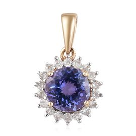 1.25 Ct AA Tanzanite and Diamond Halo Pendant in 9K Gold I3 GH