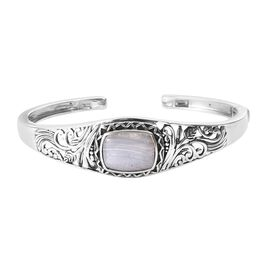 Artisan Crafted Blue Lace Agate (Cush 16x12 mm) Cuff Bangle (Size 7.5) in Sterling Silver 8.50 Ct, S