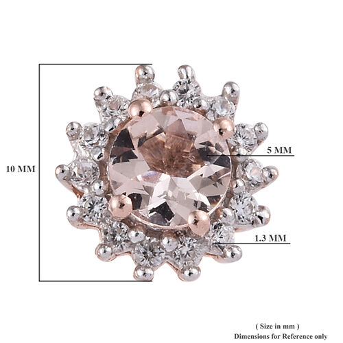 Marropino Morganite (Rnd), Natural Cambodian Zircon Earrings (with Push Back) in Rose Gold Overlay Sterling Silver 1.250 Ct.