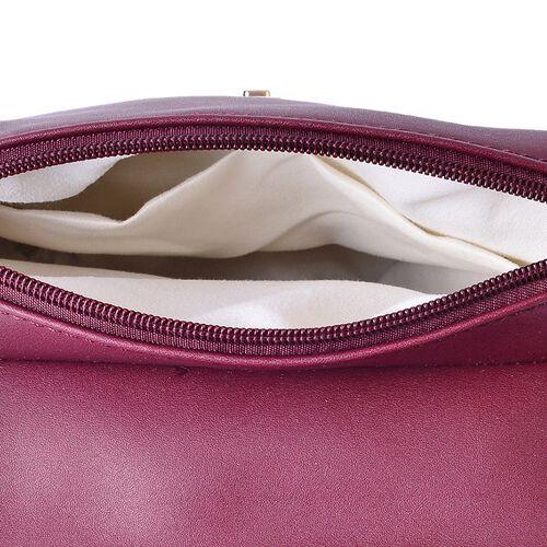 Burgundy Vintage Style Crossbody Bag with Adjustable and Removable Shoulder Strap (Size 18x18x5 Cm)
