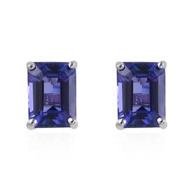 RHAPSODY 950 Platinum AAAA Tanzanite (Emerald Cut) Stud Earrings (with Screw Back) 2.25 Ct.