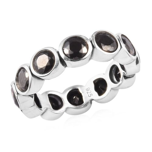 2.50 Ct Elite Shungite Bezel Set Eternity Band Ring in Sterling Silver