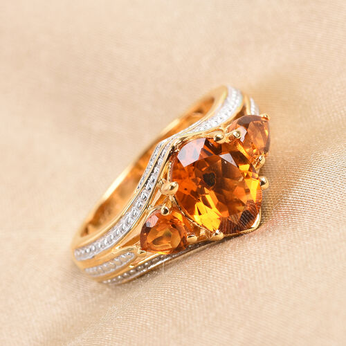 GP Madeira Citrine and Blue Sapphire Ring in 14K Gold Overlay Sterling Silver 2.25 Ct.
