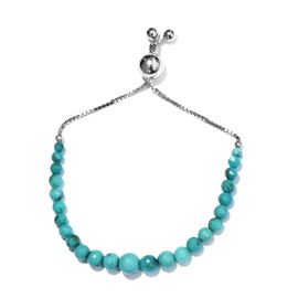 26.85 Ct Sleeping Beauty Turquoise Adjustable Beaded Bracelet in Platinum Plated Silver 7.5 Inch